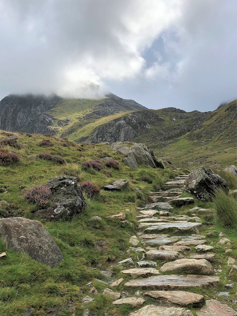 A well marked path led from the Ogwen cottage and car park to Llyn Idwal on the trail leading to Devil's Kitchen in Snowdonia