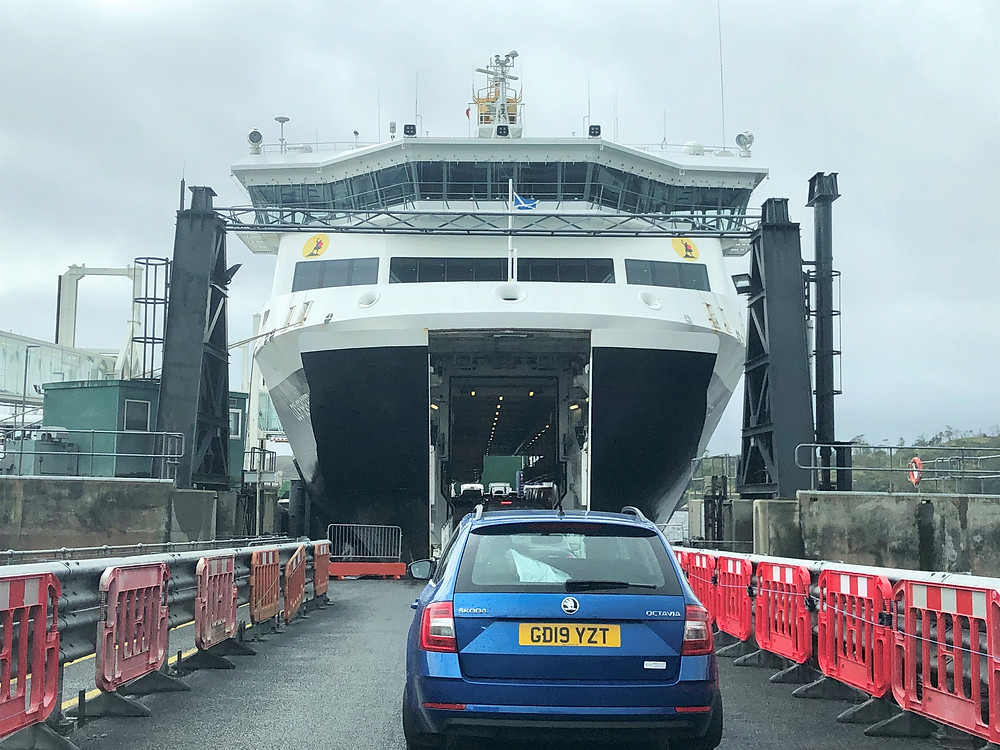 Cars lined up to enter Calmac Ferry to Tarbert  in the Outer Hebrides