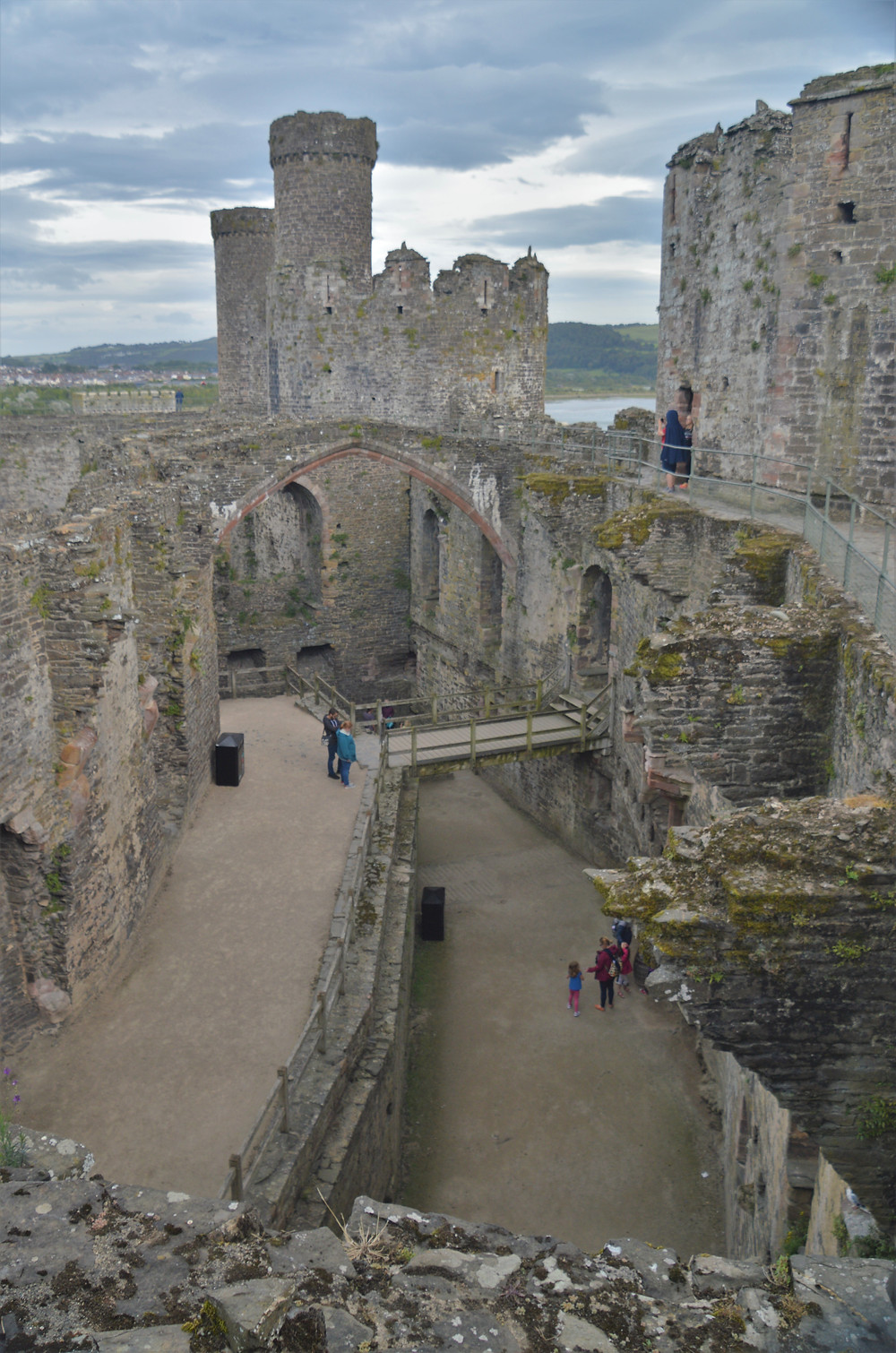 Looking into the Great Hall in the Inner Ward of Conwy Castle. Prison Tower of Conwy Castle in the center of the picture