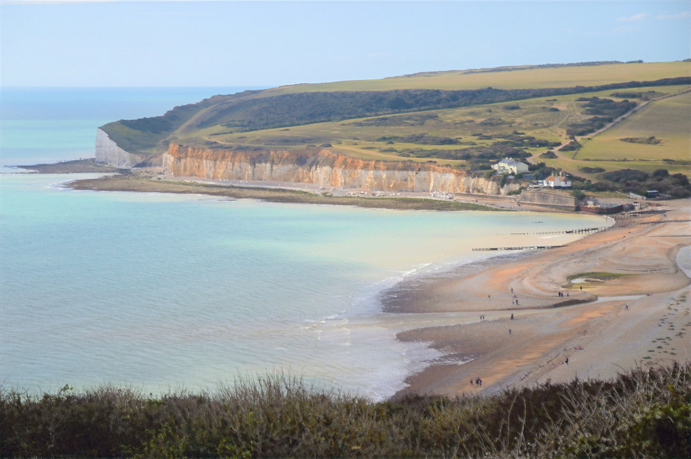 The Seaford Head cliffs directly across from Haven Brow, one of the Seven Sisters cliffs in England