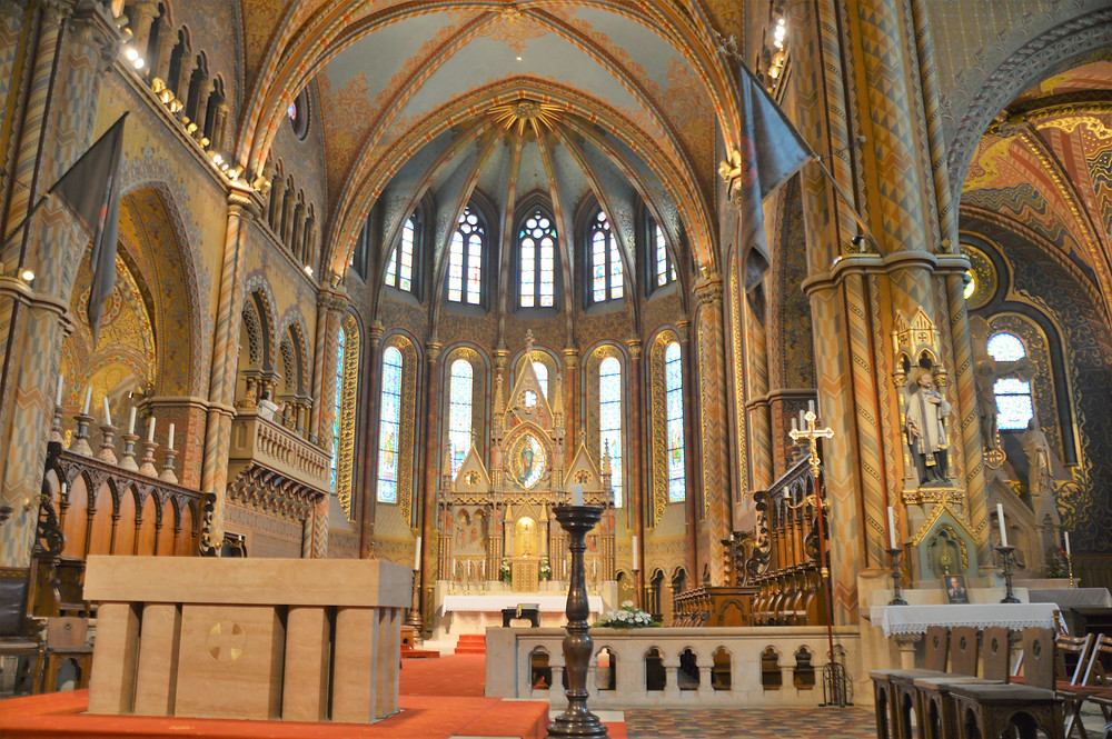 The golden high altar area of Matthias Church underwent major restoration  in the late 1800s