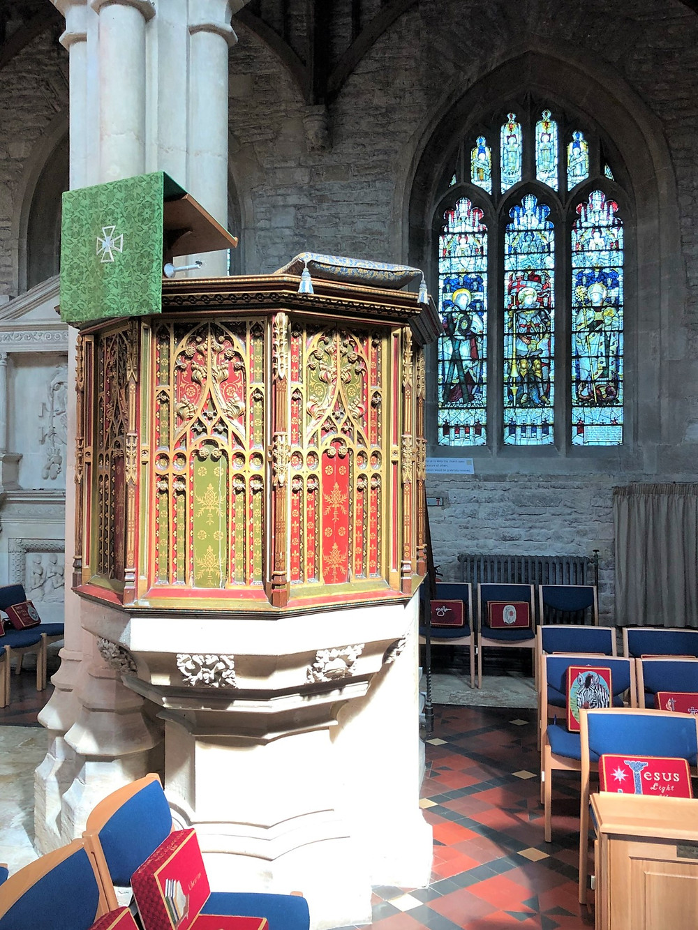 Colorful pulpit in Burford Church in Burford of the Cotswolds