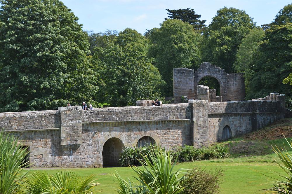 Grand wall and entrance to Culzean Castle in Scotland