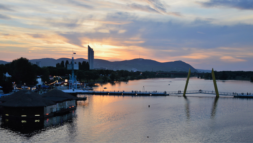 Sunset along the Danube River in Vienna