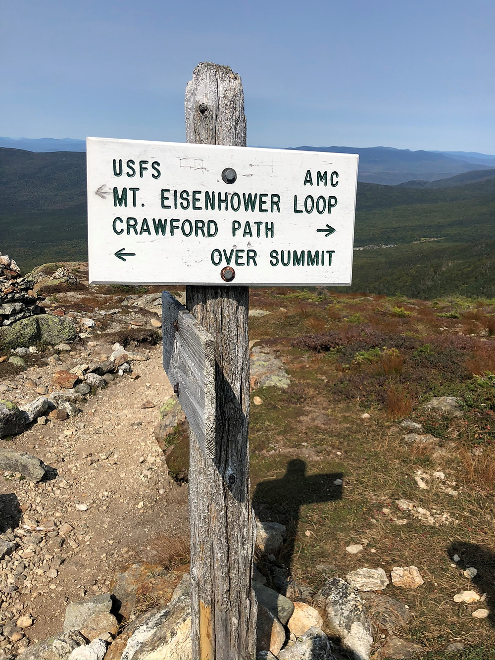 Trail sign junction of Edmands Path and Crawford Path