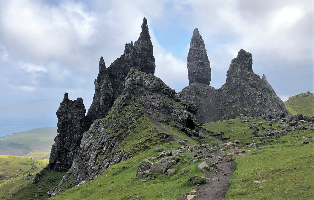 Rocky pinnacles on the trail to Old Man of Storr on the Isle of Skye