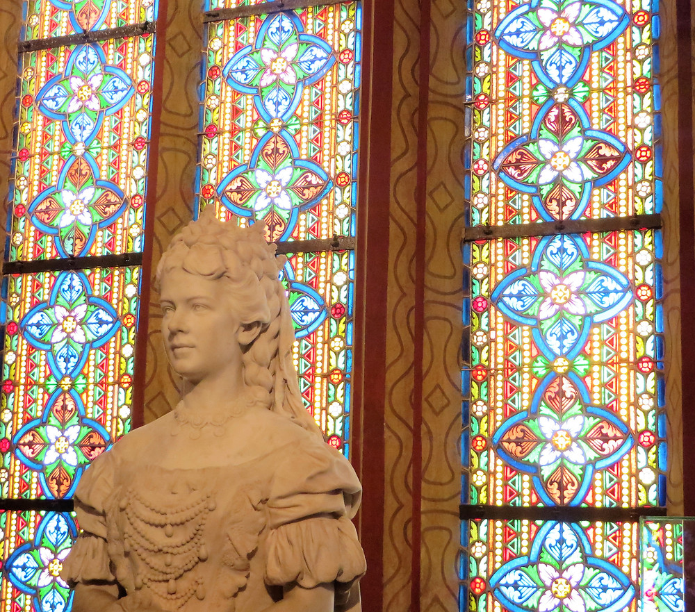 Bust statue of Princess Elizabeth of Austria (Sisi) sits in the Matthias Church in Budapest.