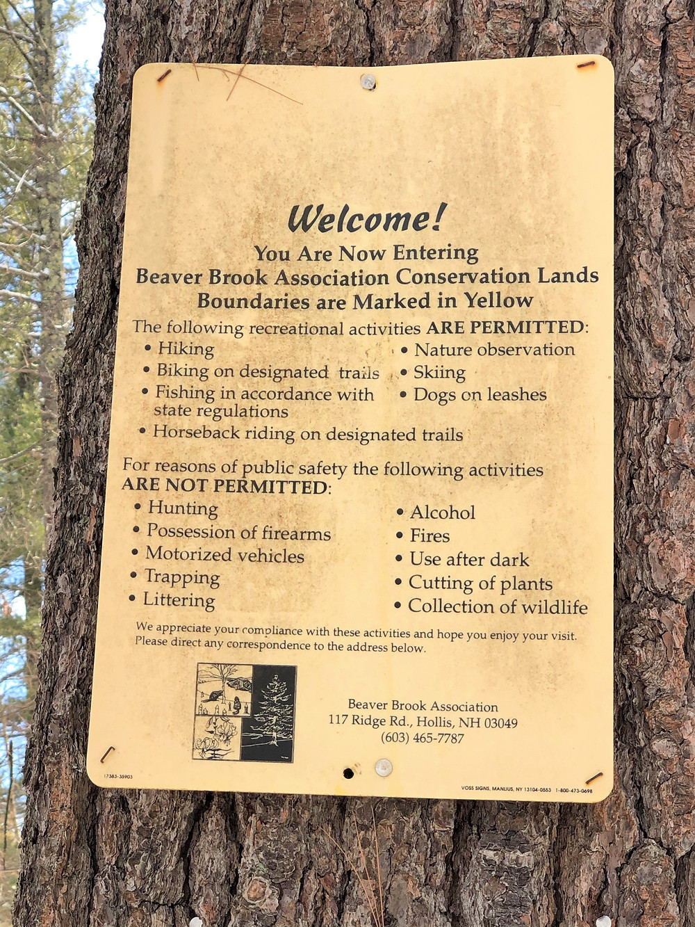 Welcome poster at Beaver Brook Conservation Lands in Hollis New Hampshire