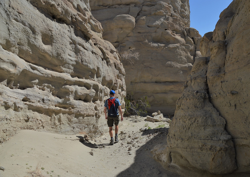 Narrow canyons along the Palm Wash on the Calcite Mine Loop at Anza-Borrego State Park