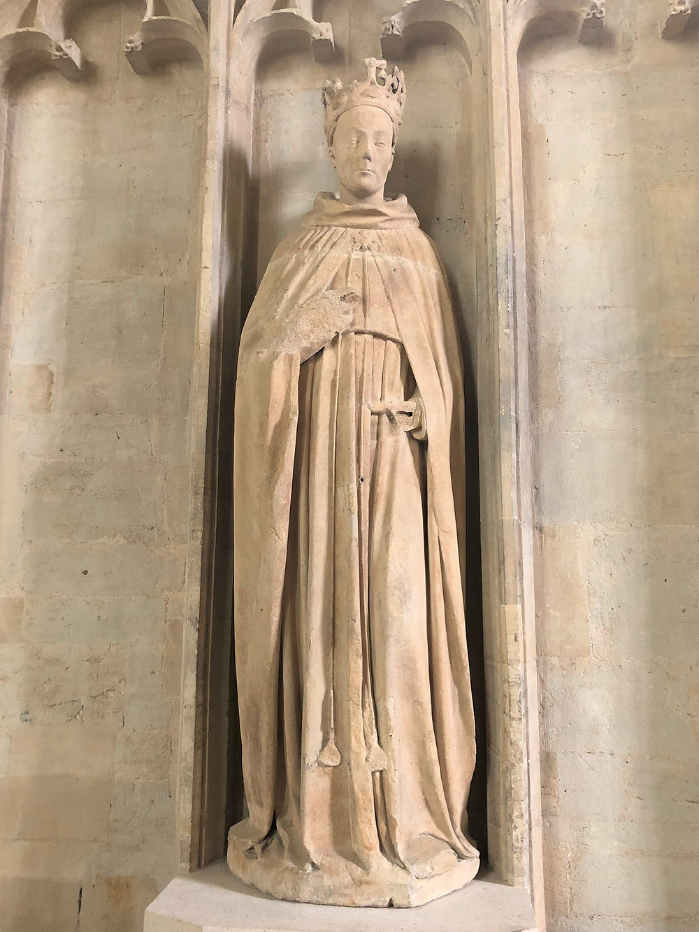A life size statue of Henry VI in the Chapel at All Souls College in Oxford, England