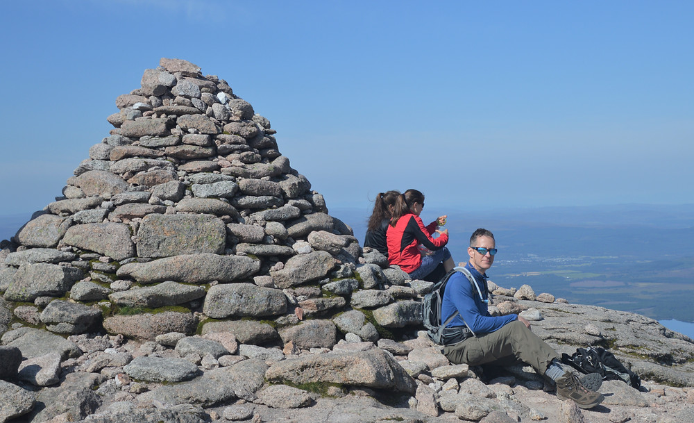 Sitting on the summit of Cairn Gorms. At 4,085 feet it is the 7th highest mountain in the UK.