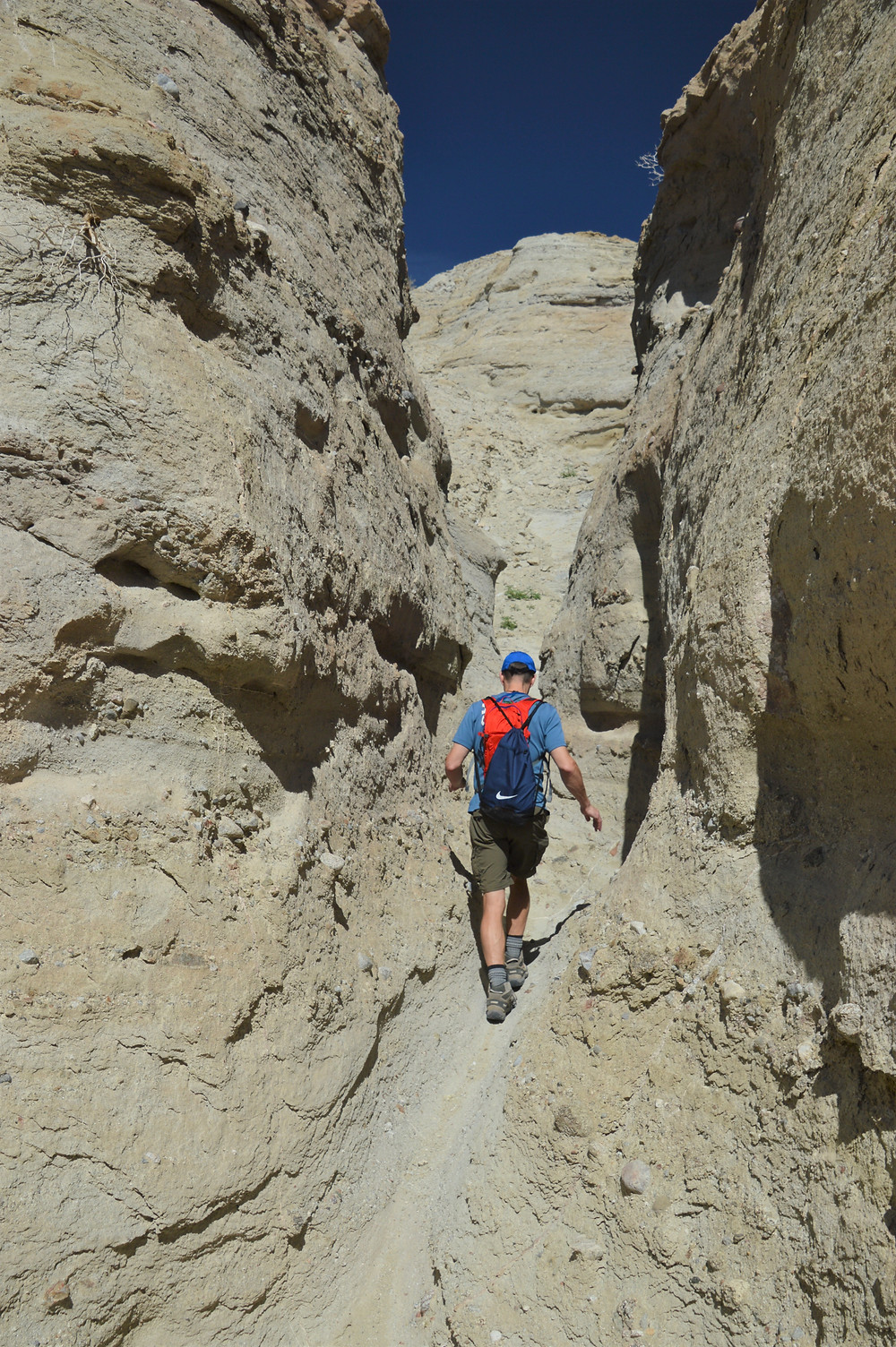 Hiking side slot canyons wash along the Calcite Mine Loop at Anza-Borrego State Park