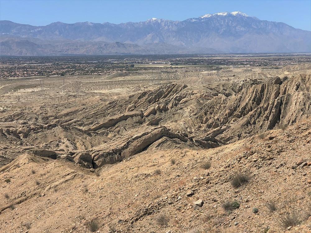 San Jacinto and Santa Rosa Mountains along Indio Hills Badland Loop Trail