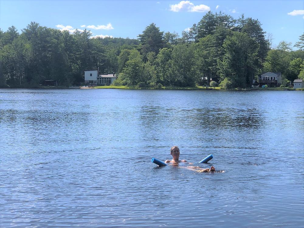 Swimming in Snake Pond in Gardner, MA