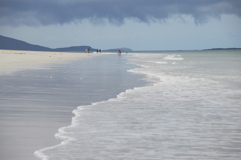 Storm clouds over the white sand Luskentyre Beach in Lewis and Harris in the Outer Hebrides