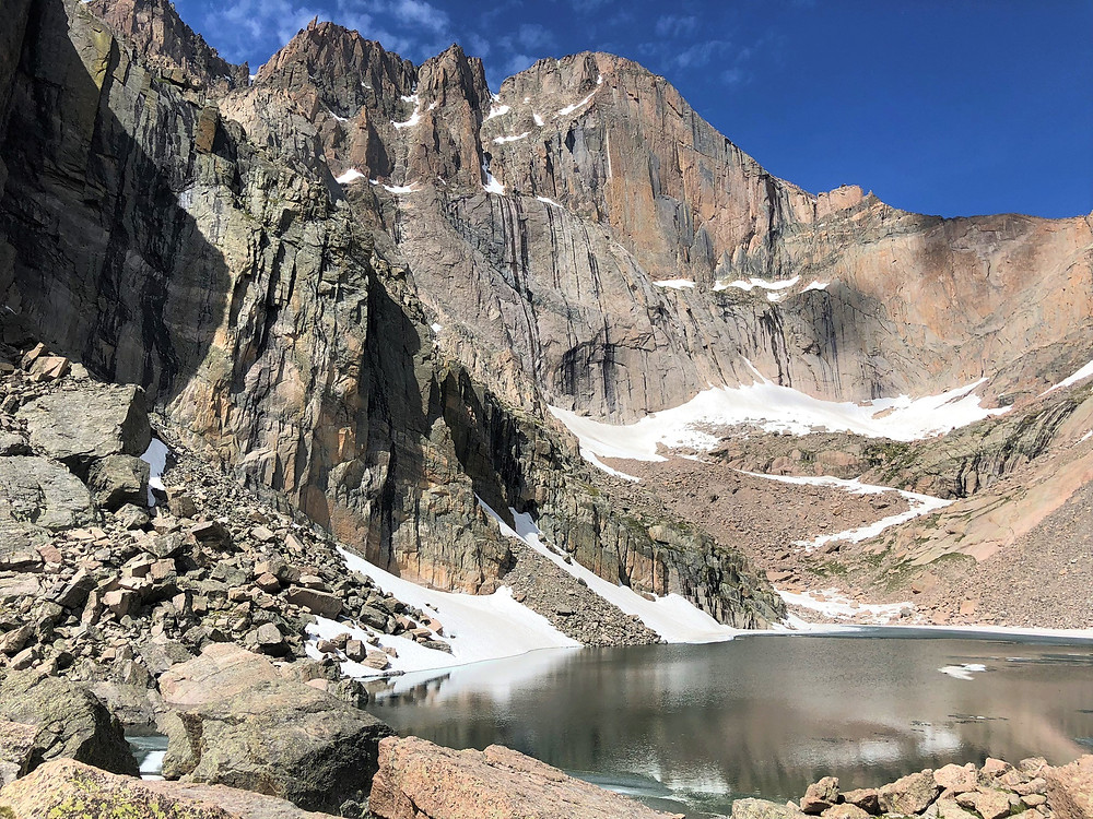 The Diamond is the sheer east face of Longs Peak; 900 feet of vertical and overhanging rock tops out at 14,000 feet
