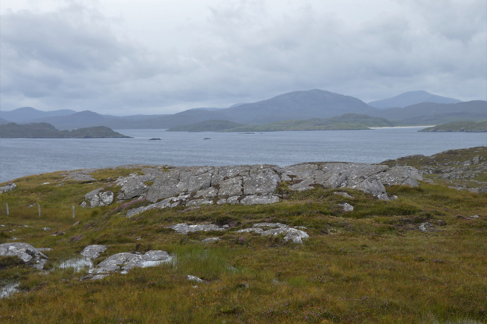 Suaineabhal, the large round hill right of center, at 1,404 feet in elevation dominated the views from the top of Beinn an Toib on Great Bernera Loop trail in the Outer Hebrides.