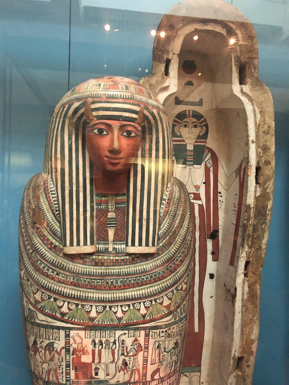 Egyptian mummy and casket on display at The British Museum