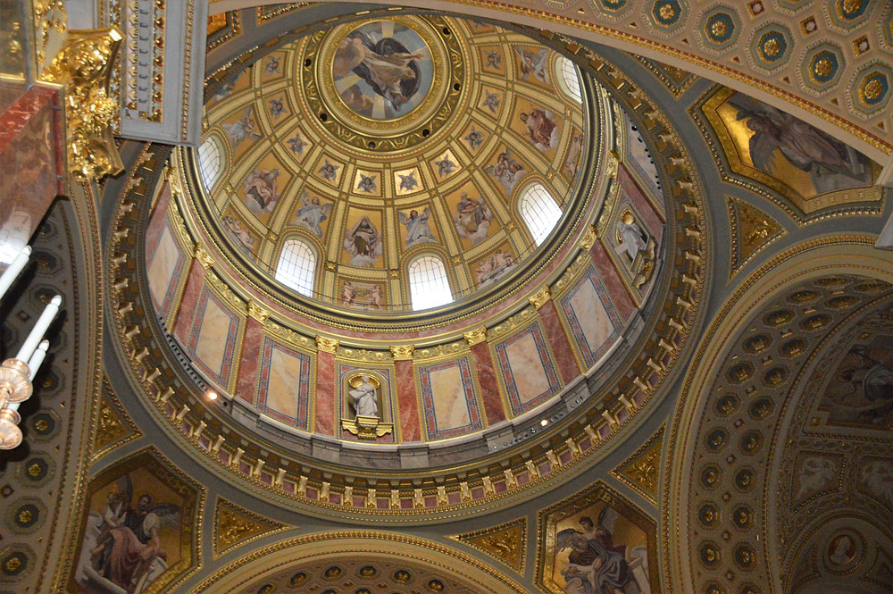 St Stephen's Basilica center is crowned with a golden majestic cupola  with a height of 96 meters