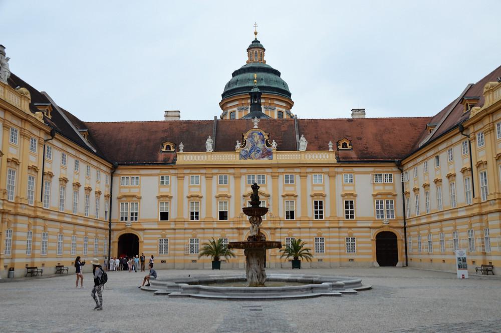 Interior courtyard of Melk Abbey in Austria