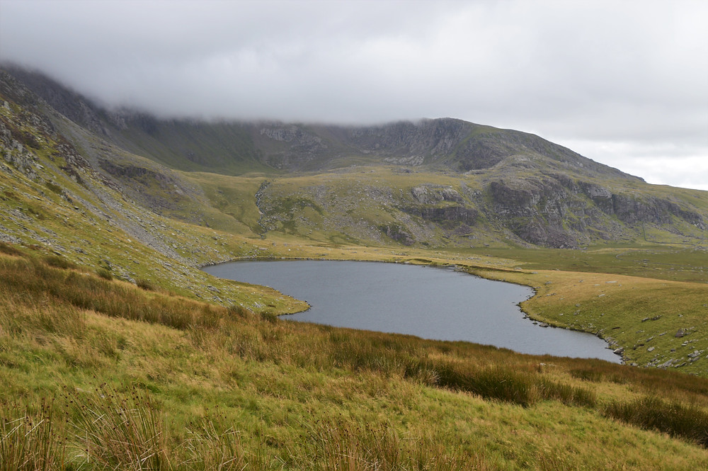 Llyn Ffynnon y Gwas lake came is the largest of the 5 lakes that formed in and around Cwm Clogwy. Ranger Path leading to summit of Snowdon
