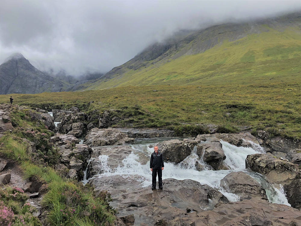 Waterfall at Fairy Pools fed by waters from the Black Cuillin Mountains on the Isle of Skye
