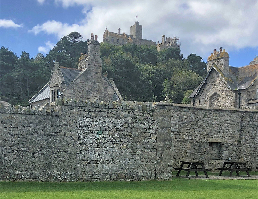 View of the castle on St Michael's Mount from the village
