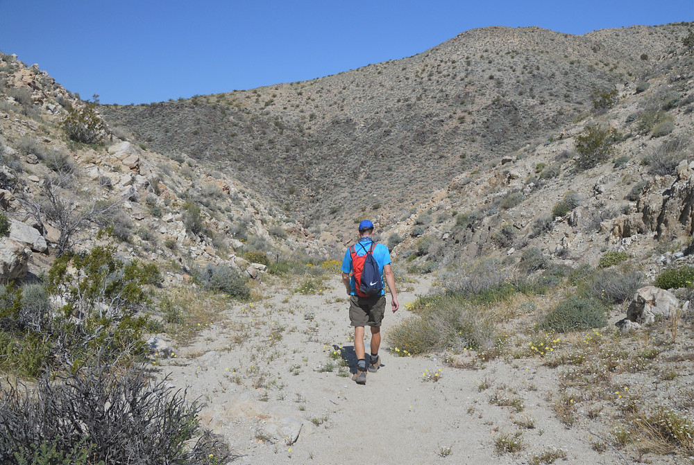 Hiking in the wash of Chocolate Drop Trail in the Little San Bernardino Mountains in Desert Hot Springs