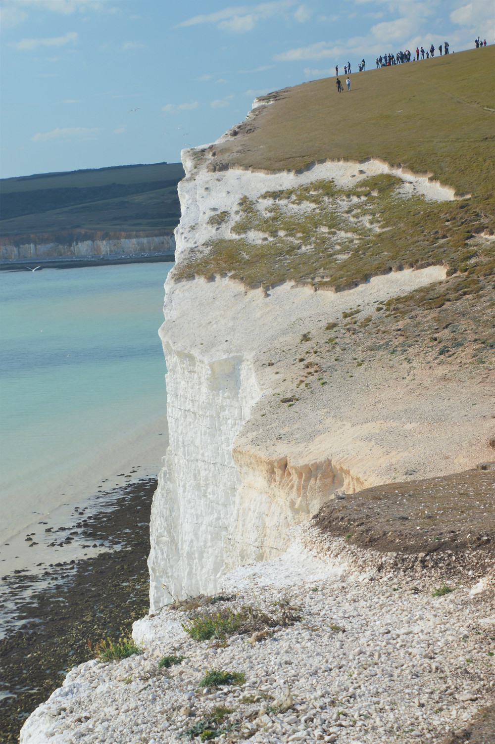 People gathered on the edge of Haven Brow, one of the Seven Sisters cliffs in England. Cliff whiteness is due to sedimentary chalk limestone