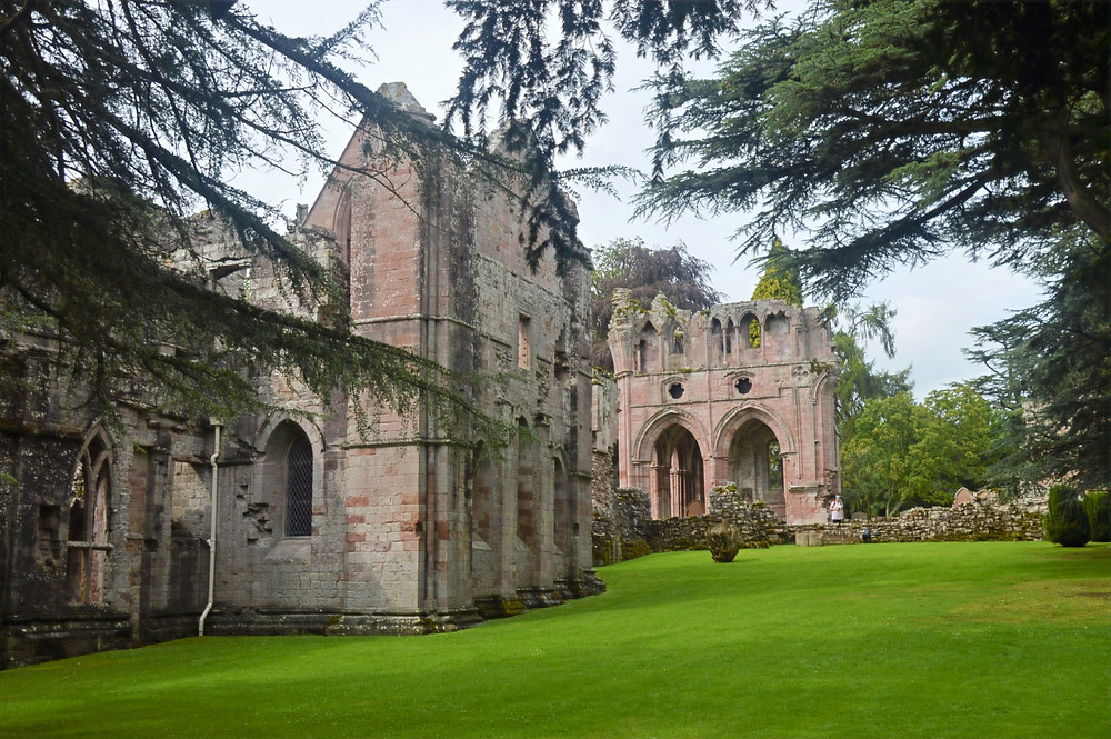 Ruins of Dryburgh Abbey in the Border Region of Southern Scotland dates to 13th century