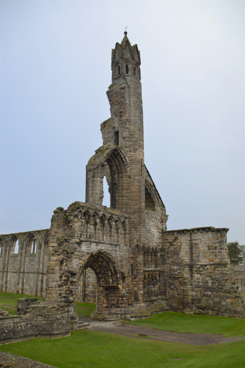 The 984 foot tall St Rule's tower was part of St Andrews Cathedral was built in the 11th century to house the relics of St. Andrew.