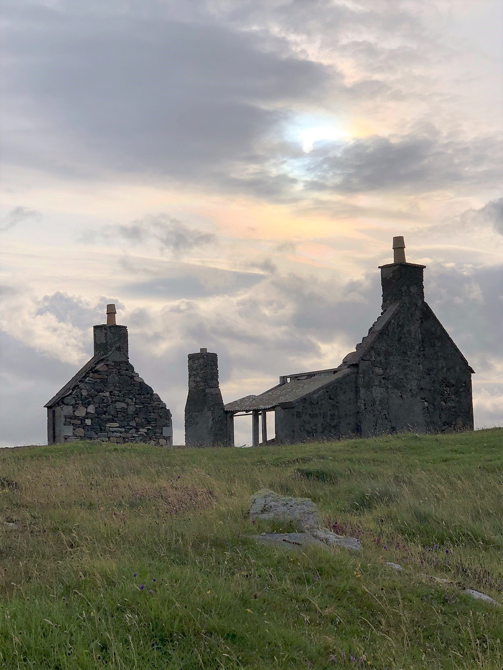 Abandoned house on Great Bernera Loop hike on the NW coast of Isle of Lewis, Outer Hebrides
