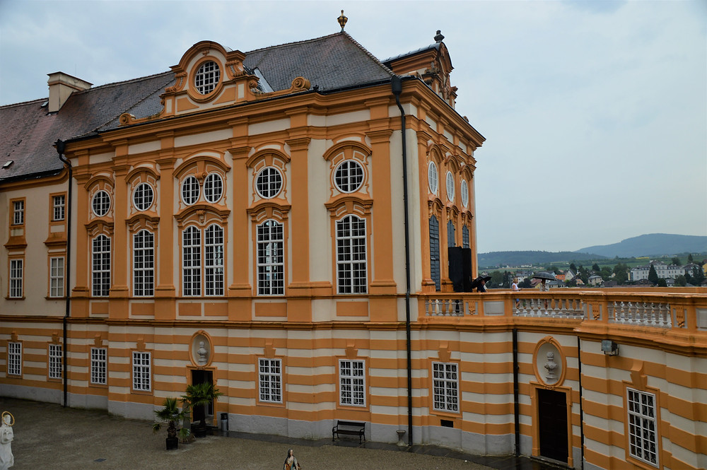 Gold colored building in Melk Abbey in Austria