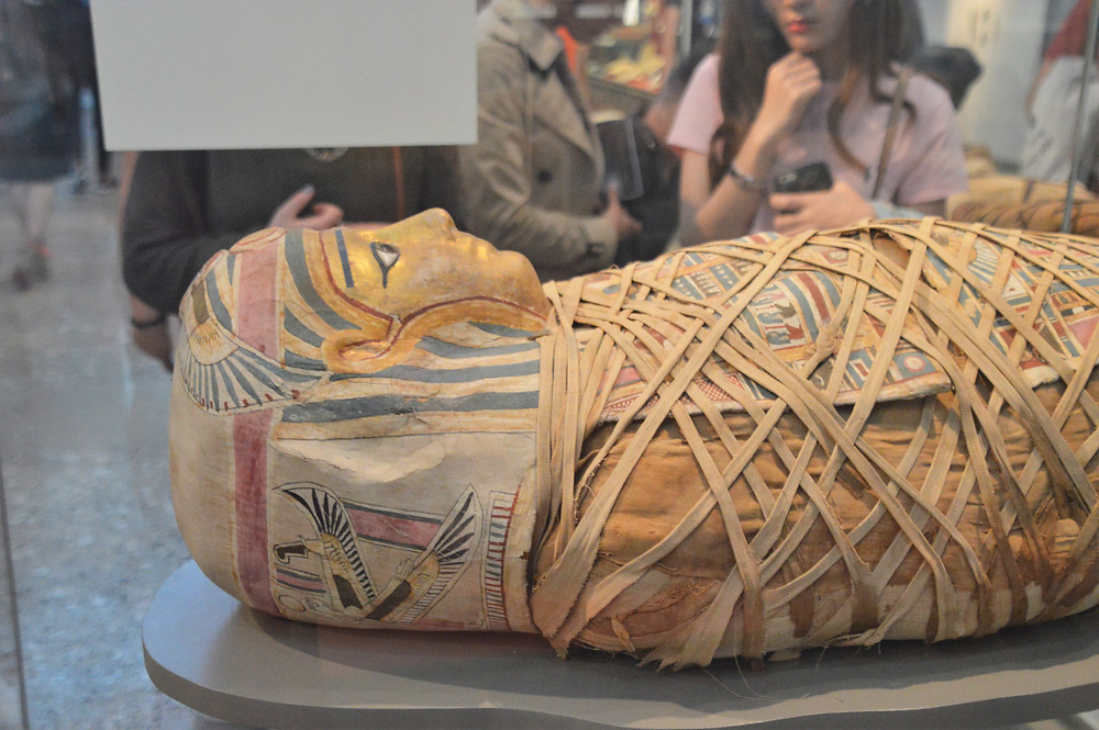 Egyptian mummy on display at The British Museum