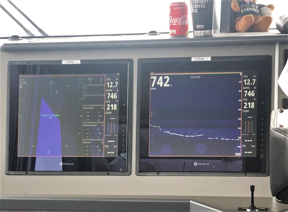 Sonar depth readings 742 feet in Loch Ness
