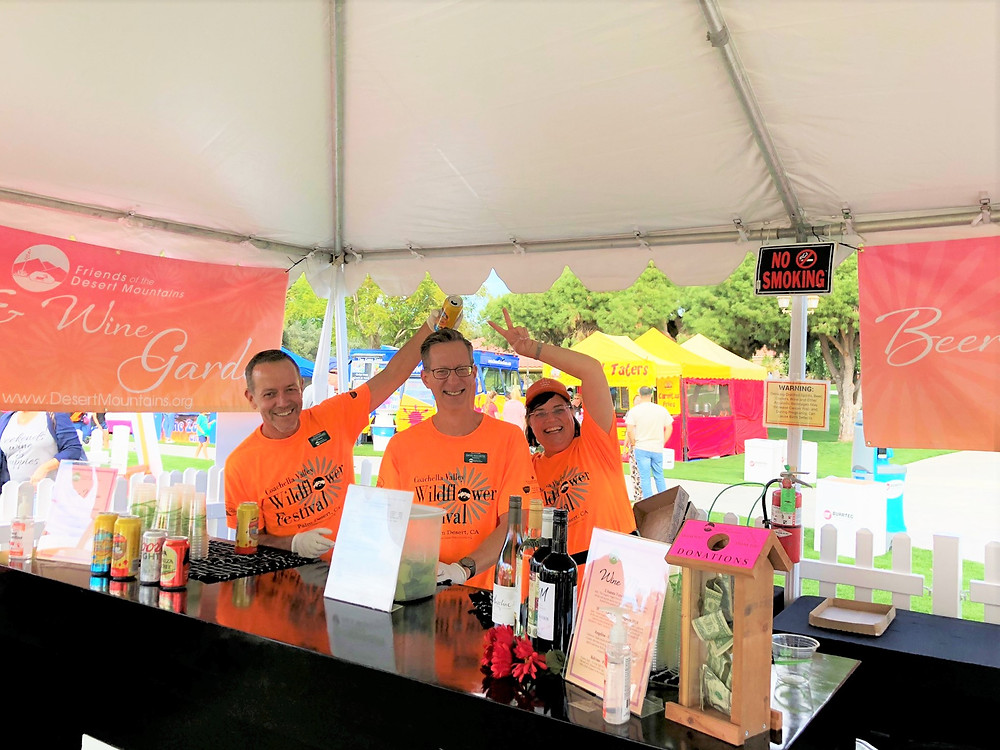 Volunteers at the beer and wine tent at the Friends of the Desert Mountains 2020 Wildflower Festival in the Palm Desert