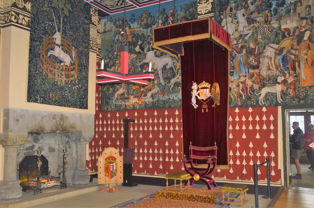 The Queen's throne and royal canopy in the Queen's Inner Chamber in Stirling Castle