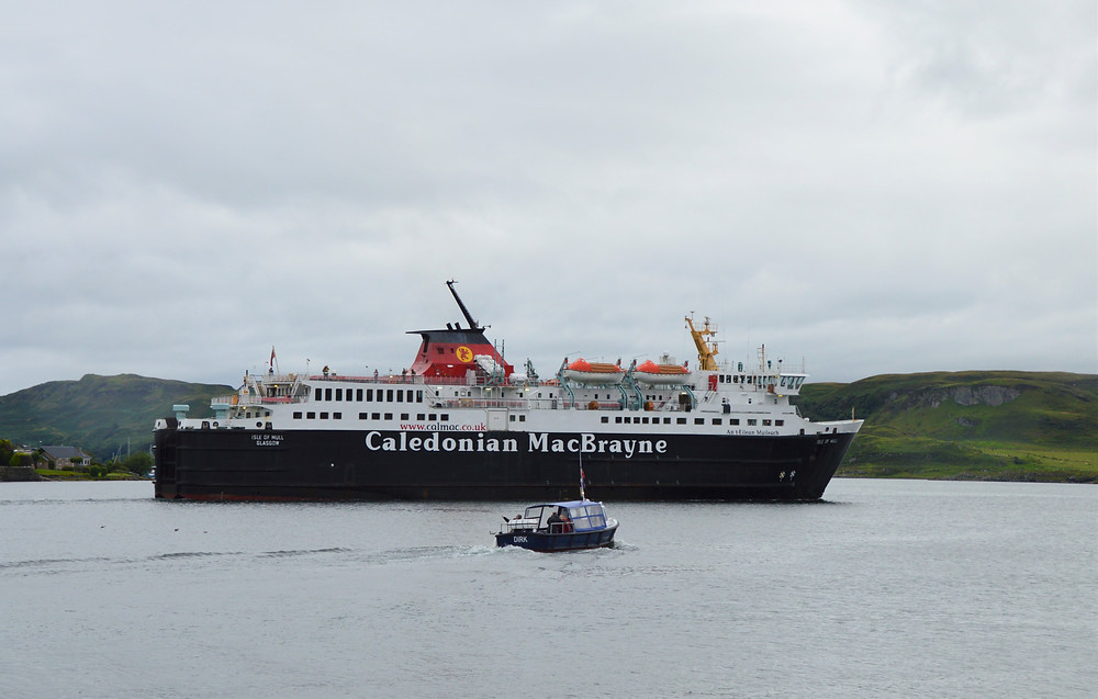 CalMac ferry from Oban to the pier at Craignure on the Isle of Mull in Scotland