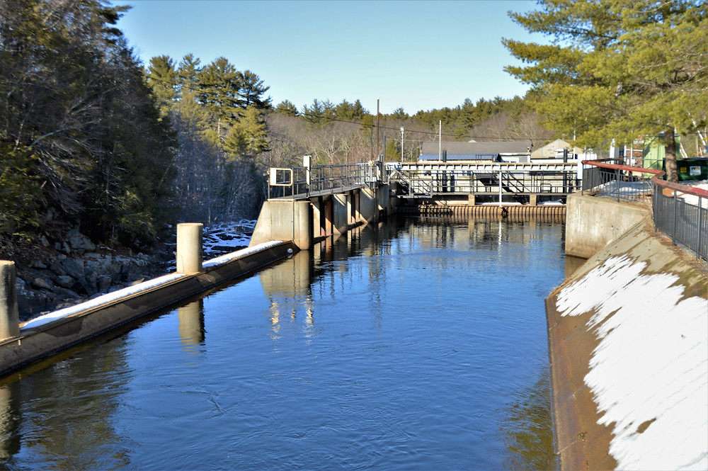 Penstock channeling water to hydroelectric facility on Nashua River at Mine Falls