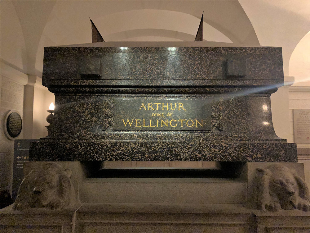 The tomb of the Duke of Wellington, who defeated Napoleon at the Battle of Waterloo in St Paul's Cathedral in London