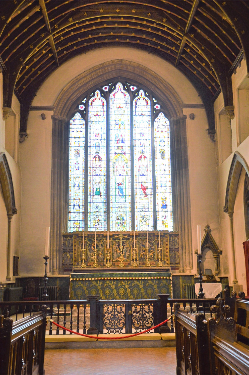 The East Window and chencel in Cathedral of the Cotswolds, St. John the Baptist in Cirencester of the Cotswolds