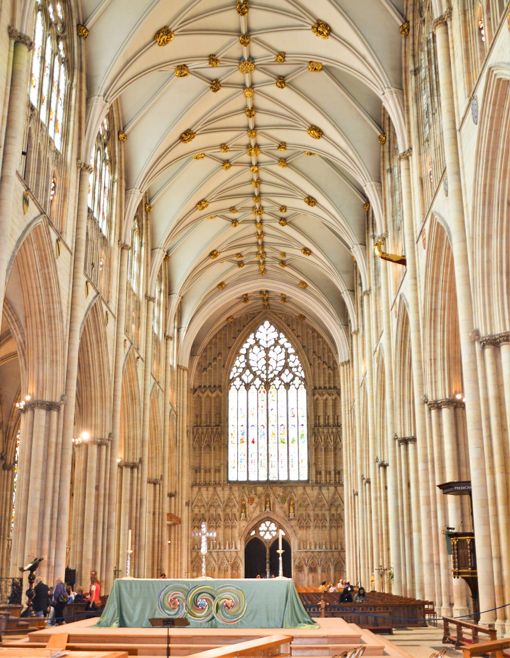 Nave of York Minster completed in 1350.  Widest gothic nave in England