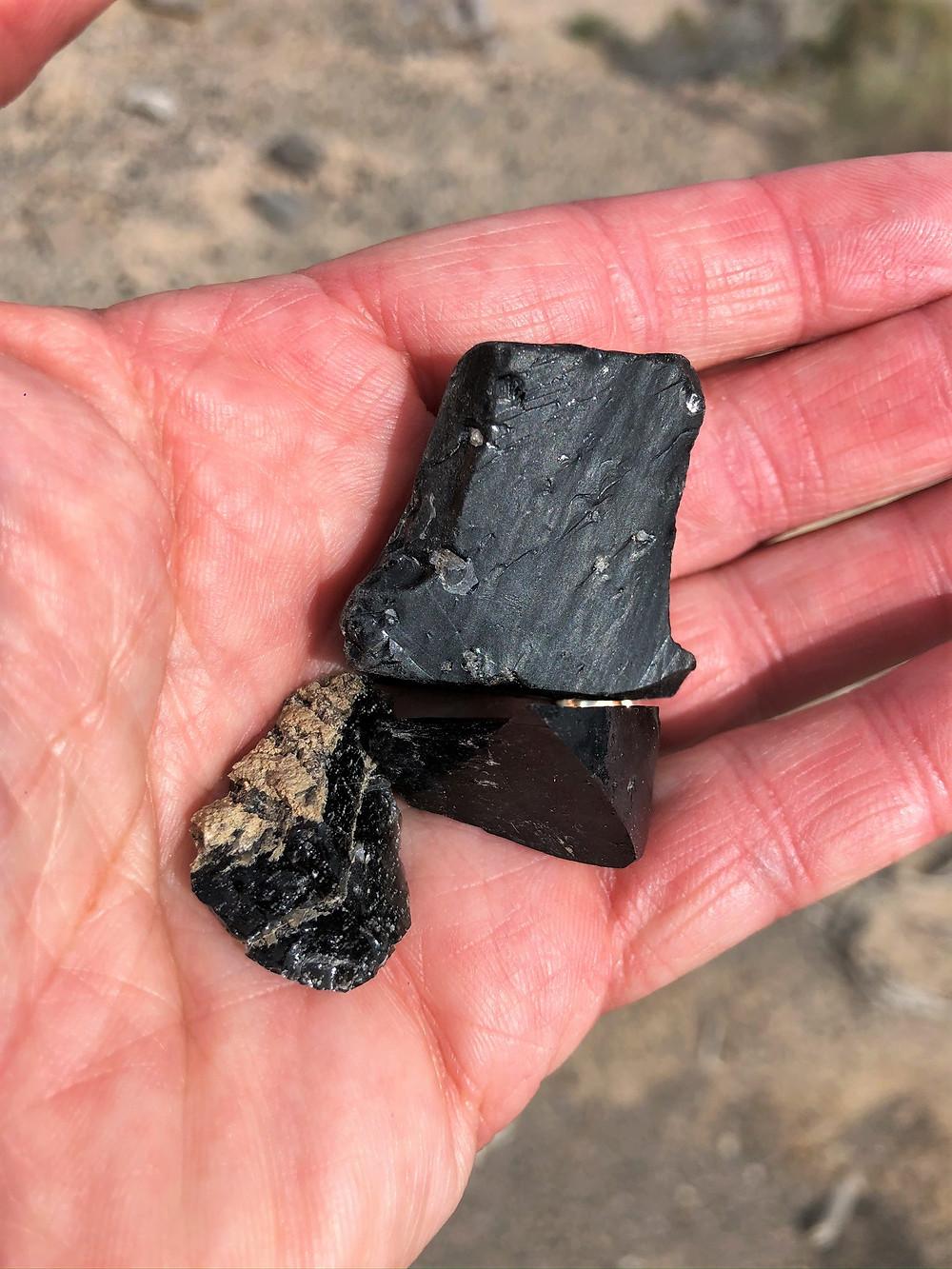 Obsidian rocks from Salton Sea area in California