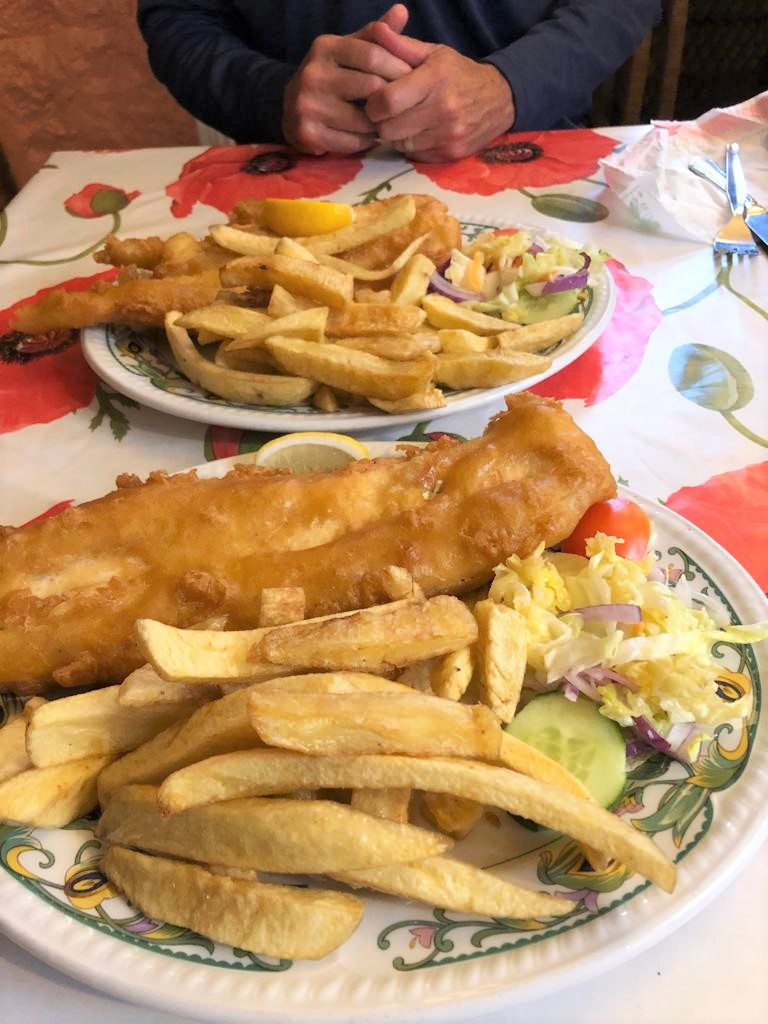 Scottish fish and chips dinner in Moffat in Southern Scotland