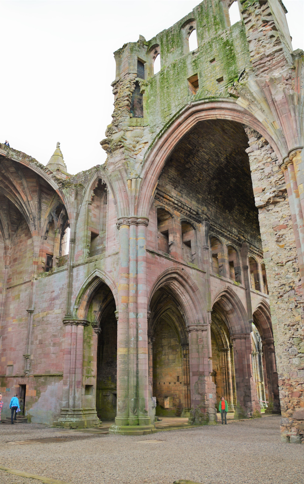 Massive 84 foot tall pillars supported the roof of Melrose Abbey in the Border Region of Southern