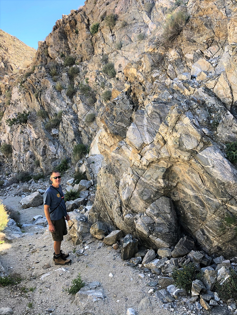 Gneiss and schist rock ledge in Swiss Canyon in Little San Bernardino mountains. San Andreas Fault Network