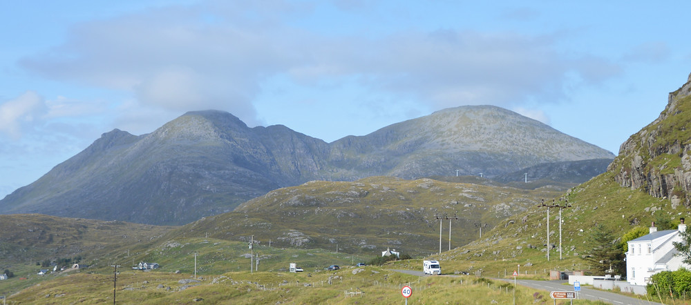 Hills and long the Golden Road through Isle of Harris in the Outer Hebrides