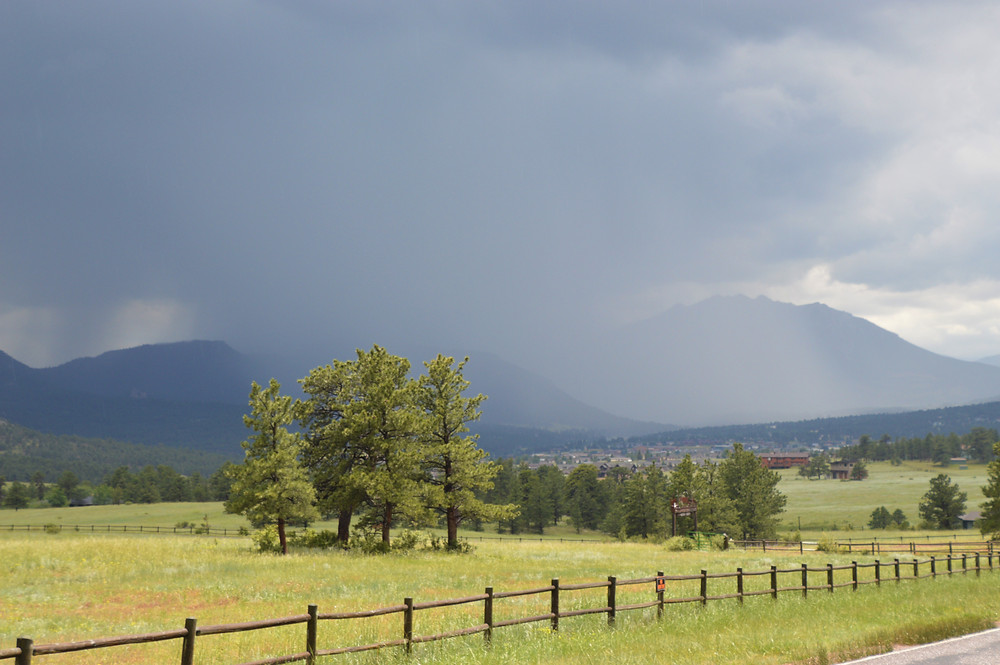 Storm clouds over mountains in Estes Park Colorado