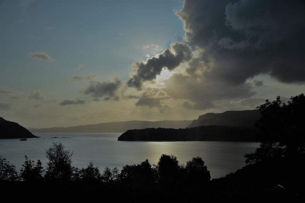 Sunrise over Portree harbor on the Isle of Skye