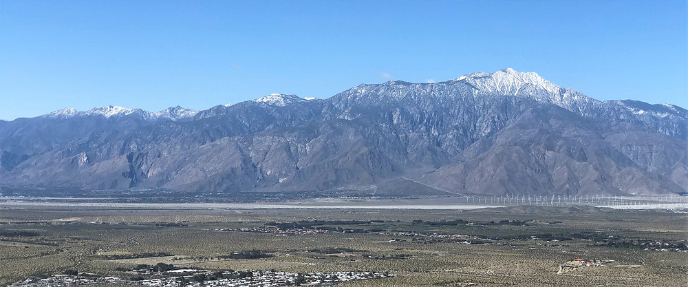 Panorama of snowy San Jacinto Mountains  from Desert Hot Springs